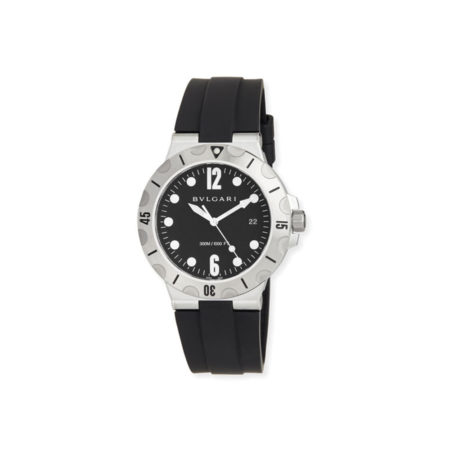 BVLGARI 41mm Stainless Steel Diagono SCUBA Watch, Black