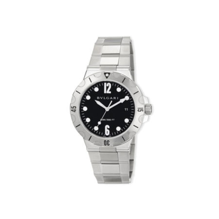 BVLGARI 41mm Diagono Scuba Stainless Steel Watch, Black Dial