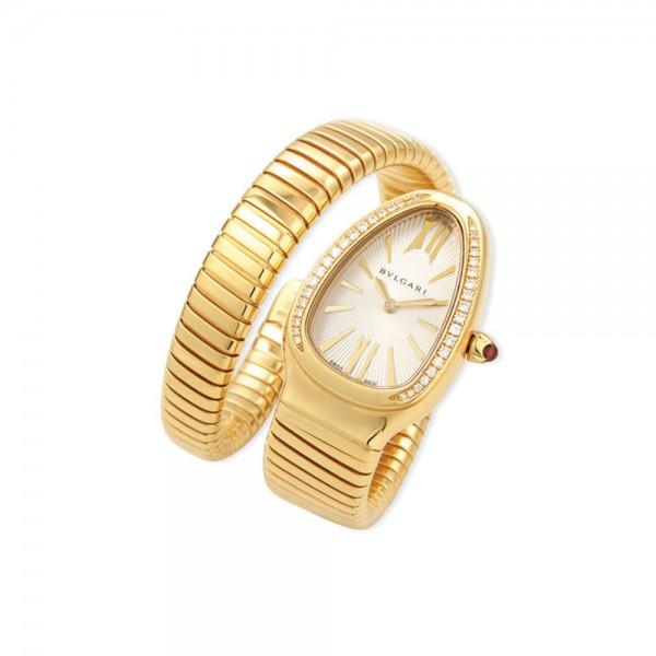 BVLGARI 35mm Serpenti Tubogas Yellow Gold Diamond Watch