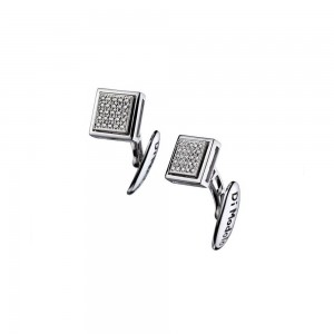 Men's Falco 18K White Gold & Diamond Cufflinks